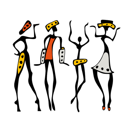 ethnographic: African dancers. Dancing woman in ethnic style. Vector Illustration.