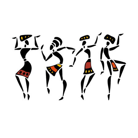 Afrikaanse dansers. Dansende vrouw in etnische stijl. Vector Illustratie.
