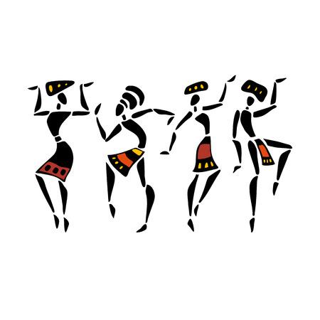 ilustraciones africanas: bailarines africanos. Mujer del baile en estilo étnico. Ilustración del vector.