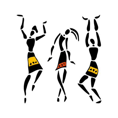 African dancers. Dancing woman in ethnic style. Vector Illustration.