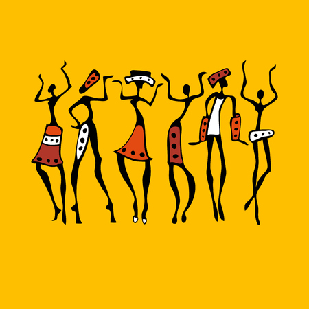 simbolo de la mujer: bailarines africanos. Mujer del baile en estilo étnico. Ilustración del vector.