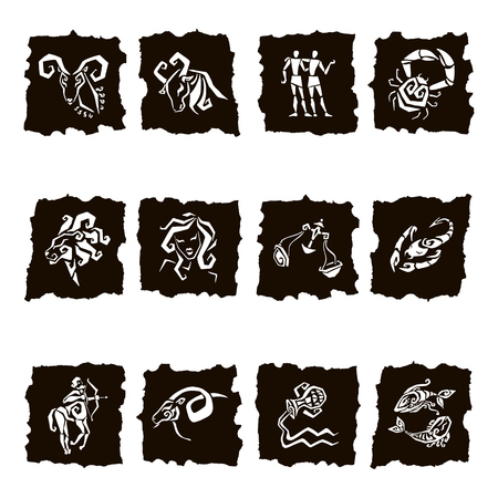 zodiacal signs: Zodiac icons. Freehand drawing. Zodiac sign silhouettes, set of horoscope symbols, astrology symbols set. Illustration