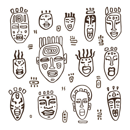 simbols: Set of African masks. Tribal masks on white background. Vector illustration isolated on white background.