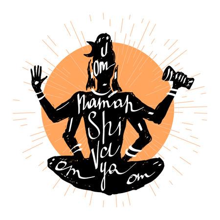 shiva: Lord Shiva Meditation in lotus pose. Yoga, Hand drawn Typography poster. Illustration
