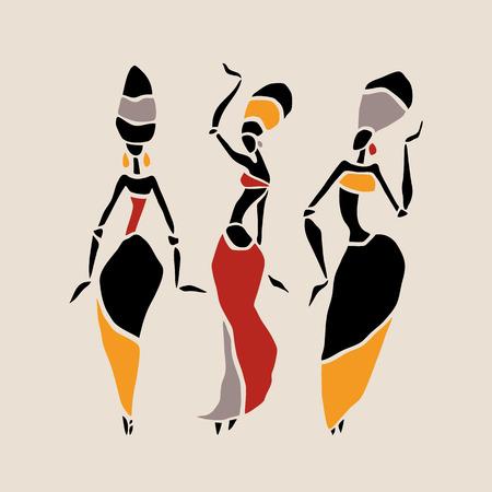 negras africanas: Las figuras de bailarines africanos. Mujer del baile en estilo étnico. Ilustración del vector.