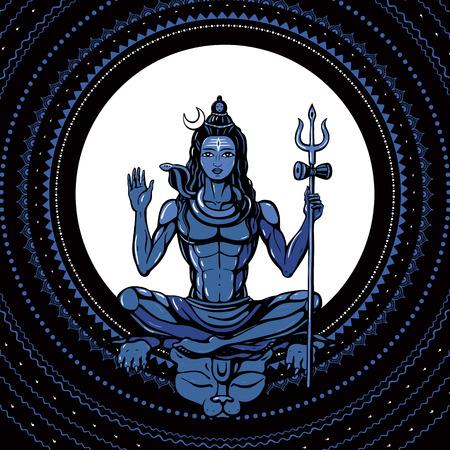 sadhu: Lord Shiva Meditation in lotus pose. Yoga, Hand drawn poster. Illustration