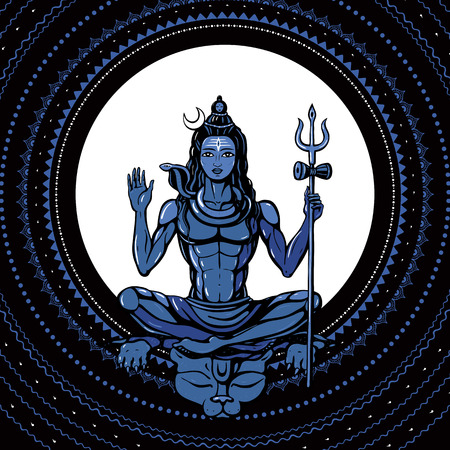 Lord Shiva Meditation in lotus pose. Yoga, Hand drawn poster. Illustration