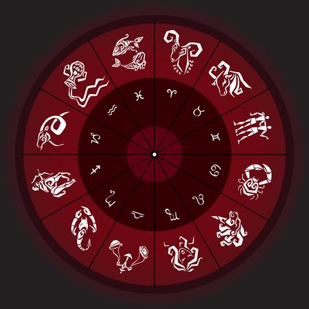 Zodiac sign. Vector hand drawn illustration. Zodiac circle with horoscope signs