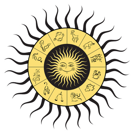 Zodiac circle with horoscope signs. Sun with smile. Vector hand drawn illustration. Boho style
