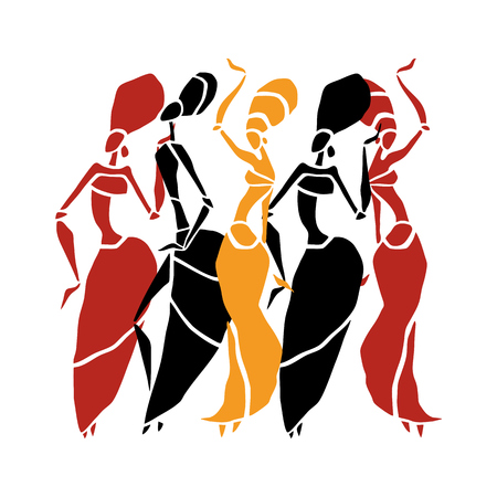 Beautiful dancers silhouette