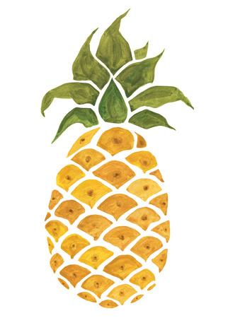 Piña. Ilustración de acuarela. Foto de archivo - 81117897