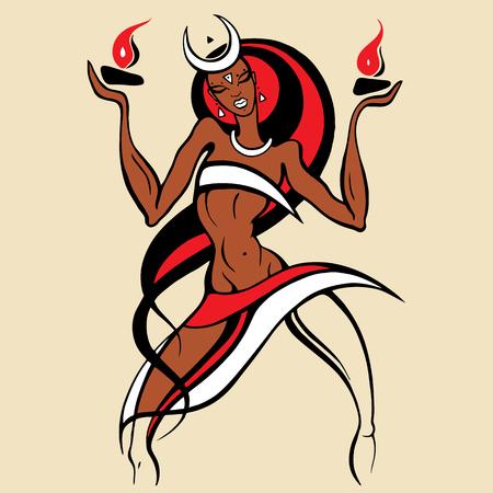 tahitian: Woman dancing with fire.
