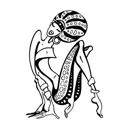 エスニック ・ スタイルでのアフリカの女性。美しい少女。手描きベクトル図  イラスト・ベクター素材