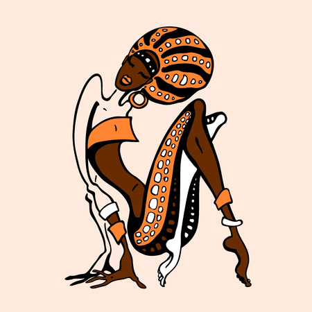 African woman in ethnic style. Beautiful Girl. Hand drawn Vector illustration Ilustracja
