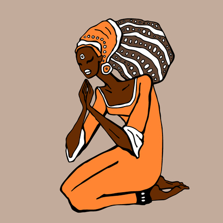 plait: African woman in ethnic style. Beautiful Girl. Hand drawn Vector illustration Illustration