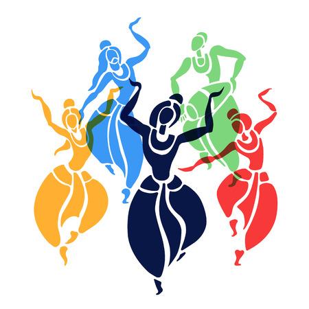 Indian dancers. Vector Illustration. Illustration