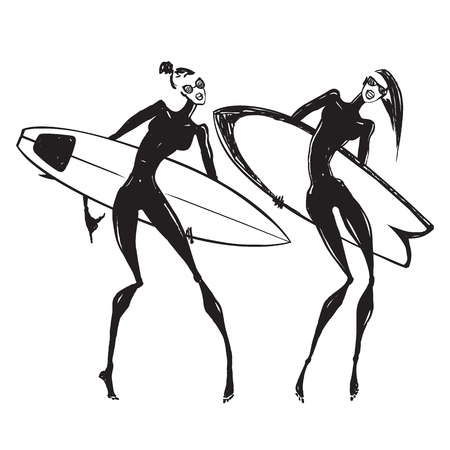 Silhouettes of surf girls. Illustration