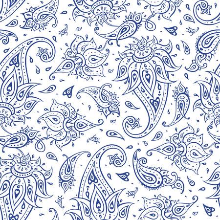 textured: Beautiful Paisley seamless background. Elegant Ethnic Hand Drawn vintage Pattern.