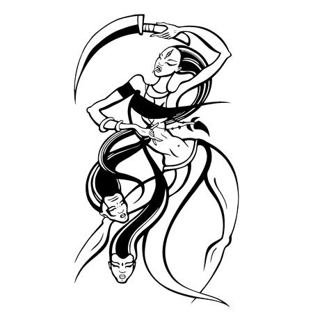Hindu Goddess Kali. Illusztráció