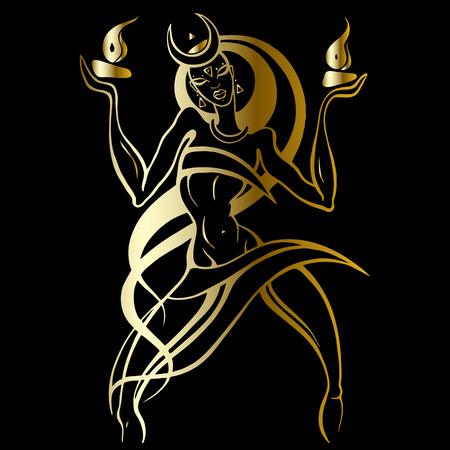 火の踊りの女性。  イラスト・ベクター素材