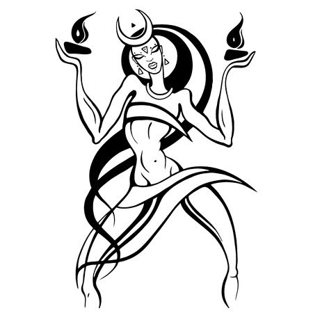skirts: Woman dancing with fire vector illustration