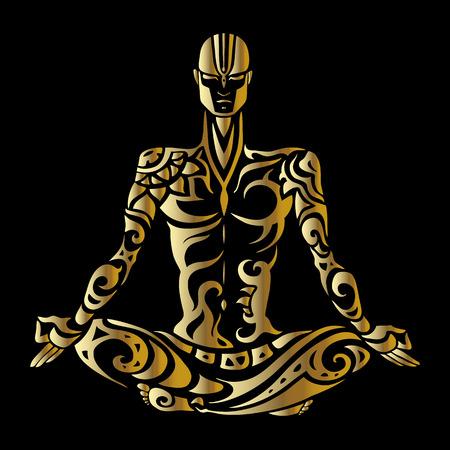 om sign: Meditation. Yoga man Silhouette.