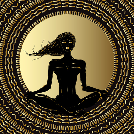 Meditation. Silhouette young woman. Illustration