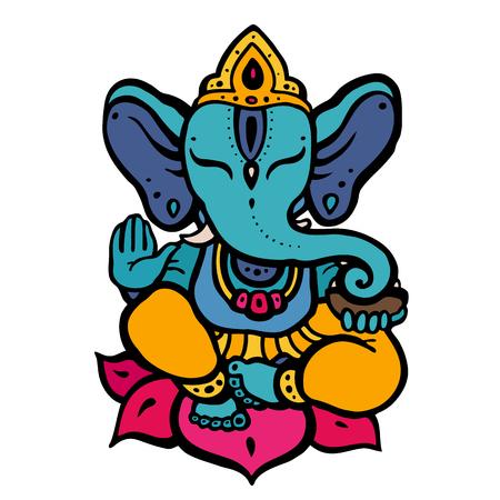 ヒンドゥー教の神ガネーシャ  イラスト・ベクター素材