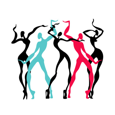 the performer: Beautiful women. Dancing silhouettes.