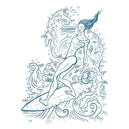 Beautiful woman on surf board.