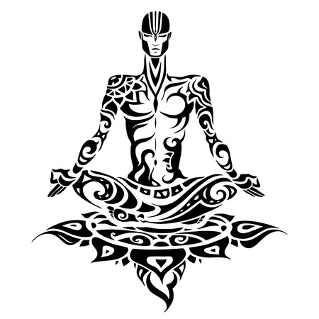Meditation. Yoga man Silhouette.
