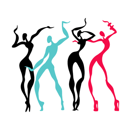 hip hop silhouette: Beautiful women. Dancing silhouettes.