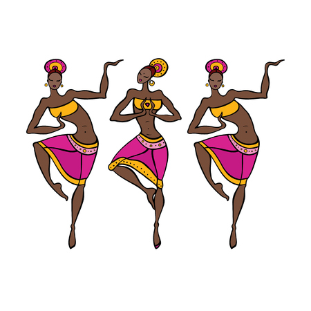 Dancing woman in ethnic style.