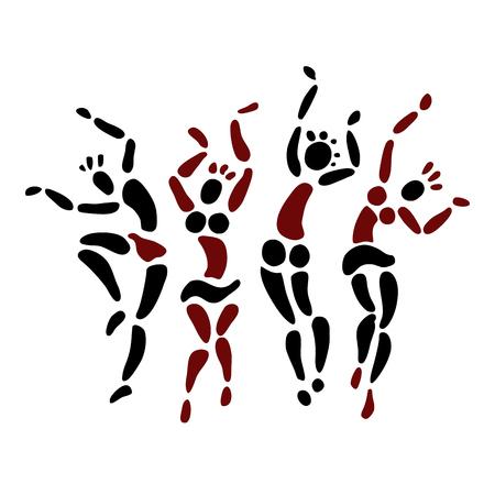Tribal Dancing silhouettes. Oriental dancer Vector illustration 일러스트