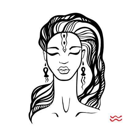 Aquarius. Zodiac Beautiful fashion girl.