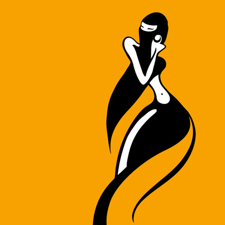 Eastern woman Silhouette. Hand drawn Vector Illustration Vetores