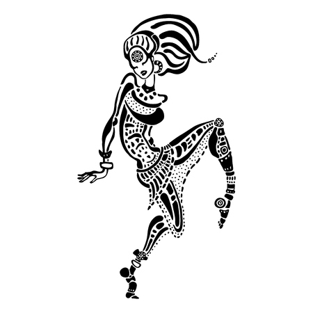 African woman in ethnic style. Illustration