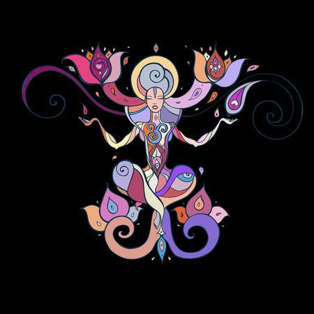 Meditation. Yoga Silhouette. Illustration