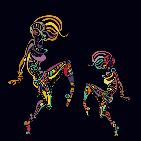 African woman in ethnic style illustration.