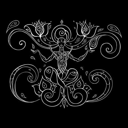 Yoga silhouette hand drawn illustration.