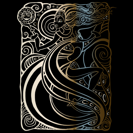 Beautiful tribal woman card pattern. 일러스트