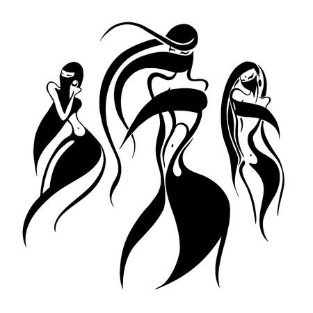 Beautiful tribal woman card pattern. Illustration