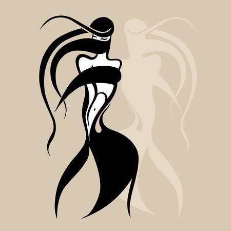 Beautiful tribal woman card pattern.