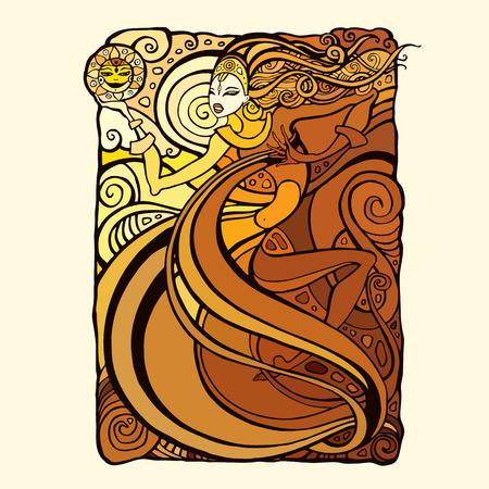 Beautiful tribal woman. Illustration