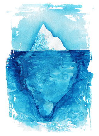 Iceberg. Sea landscape. Ocean watercolor hand painting illustration.