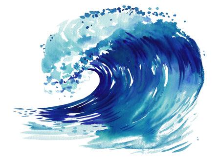 바다 물결입니다. 추상 수채화 손으로 그려진 된 그림, 흰색 배경에 격리 됨.