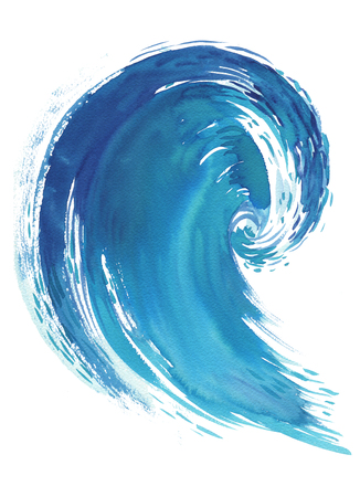 Zee Golf. Abstracte waterverfhand getrokken die illustratie, op witte achtergrond wordt geïsoleerd. Stockfoto