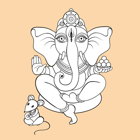 Hindu God Ganesha. Hand drawn tribal style. Vector illustration. Vettoriali