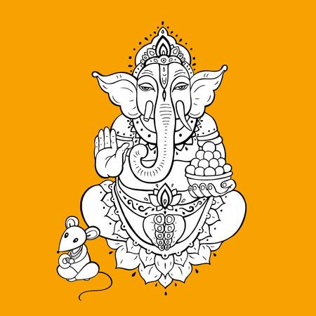 Hindu God Ganesha. Hand drawn tribal style. Vector illustration. Illustration