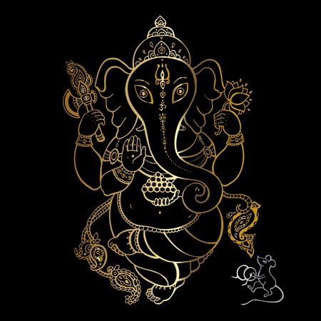 Hindu God Ganesha. Golden Ganapati. Vector hand drawn illustration. Meditation in lotus pose
